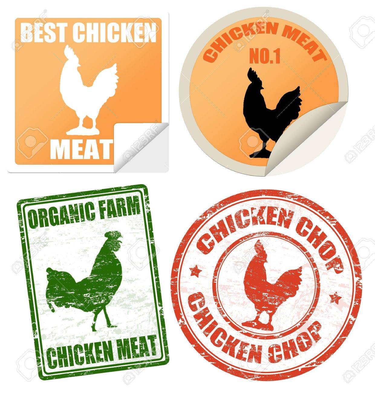 Set of chicken meat labels and stamps on white, vector illustration Stock Vector - 13359109