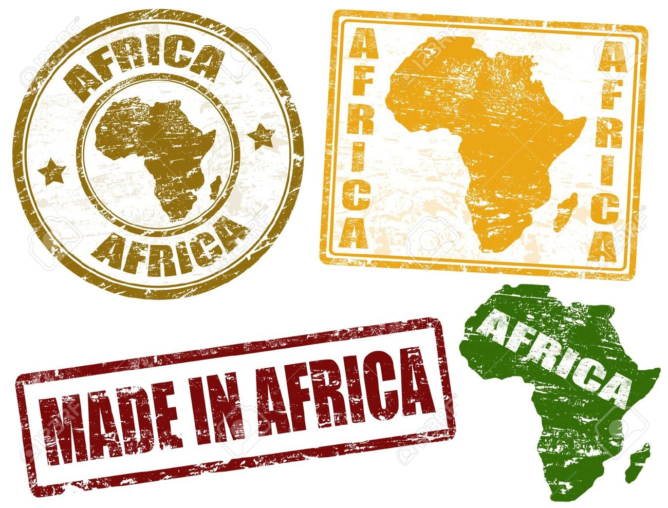 Set of grunge rubber stamps with the word Africa written inside Stock Vector - 13390238