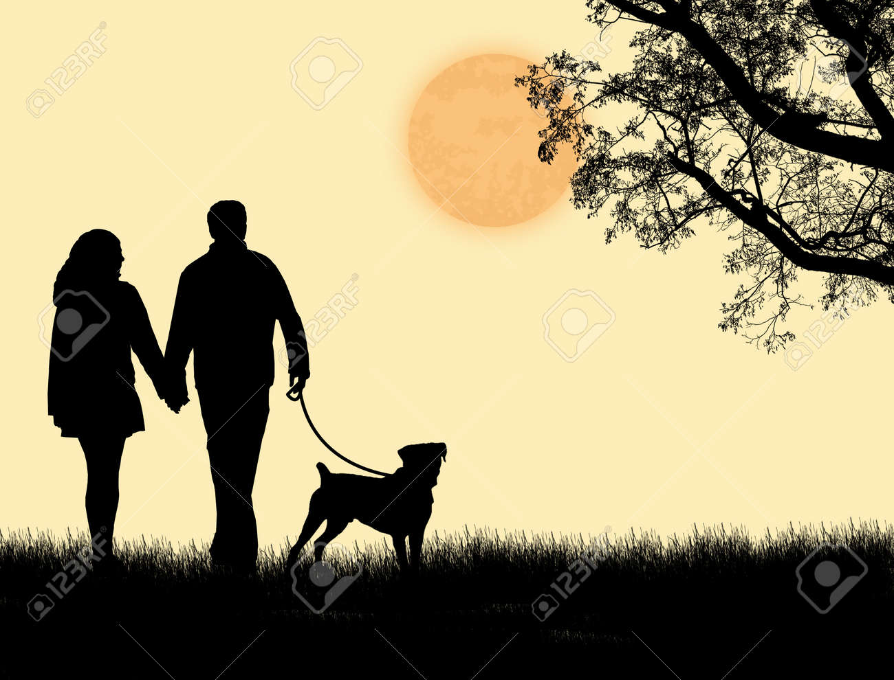 Silhouette of a couple walking their dog on sunset, vector illustration Stock Vector - 13545873