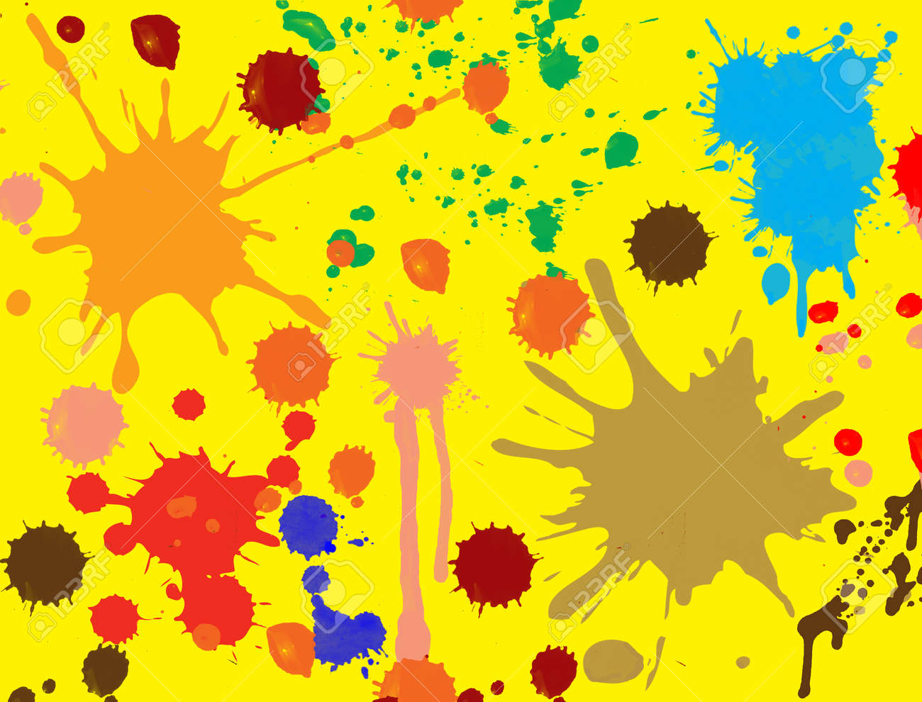Abstract Yellow Paintings Splatter Paint Brush Abstract