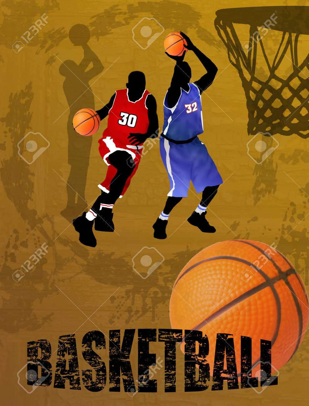 Action players, vector illustration  Basketball team on abstract background Stock Vector - 13862312