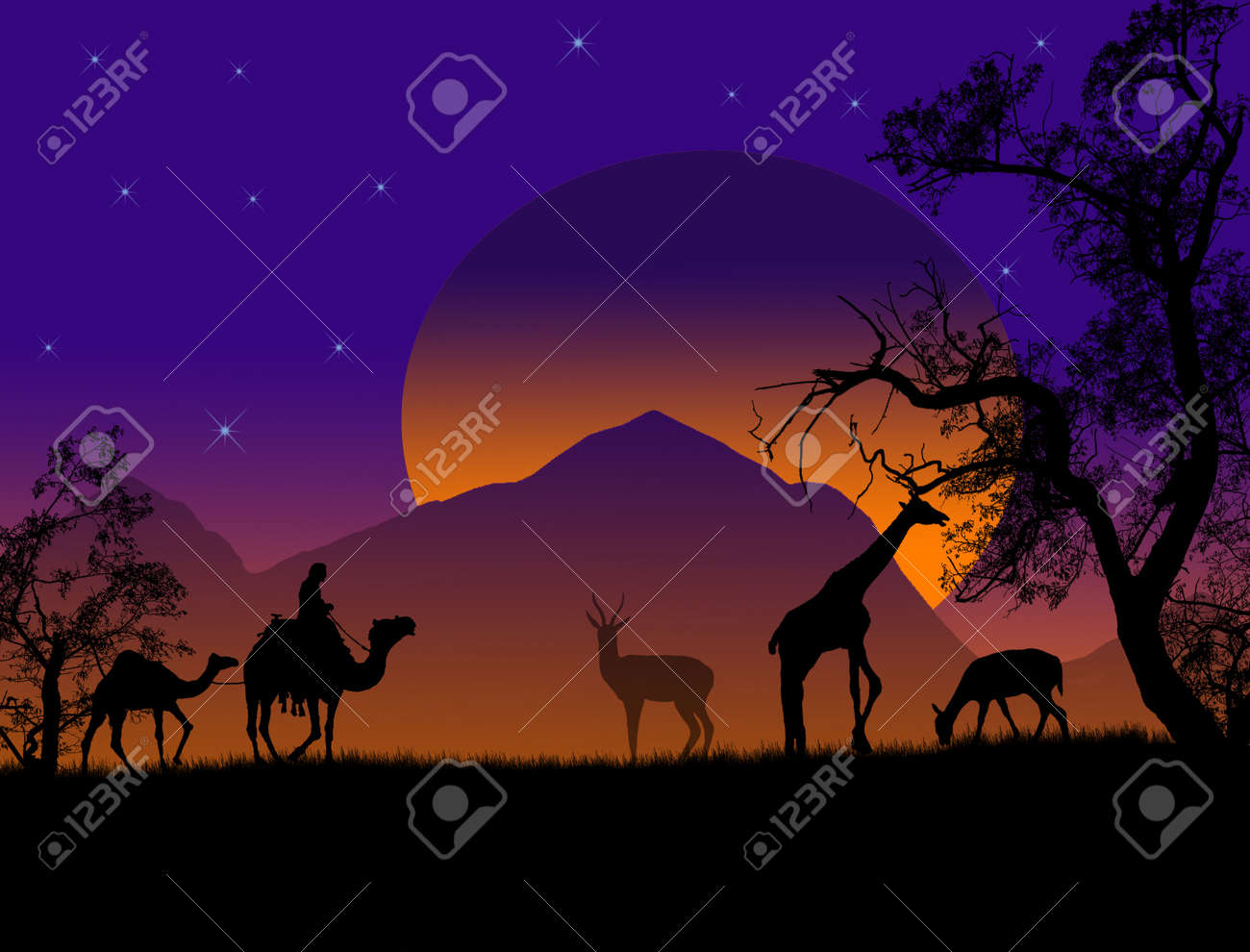 Safari - silhouettes of wild animals and bedouin with camels, vector background Stock Vector - 13862368