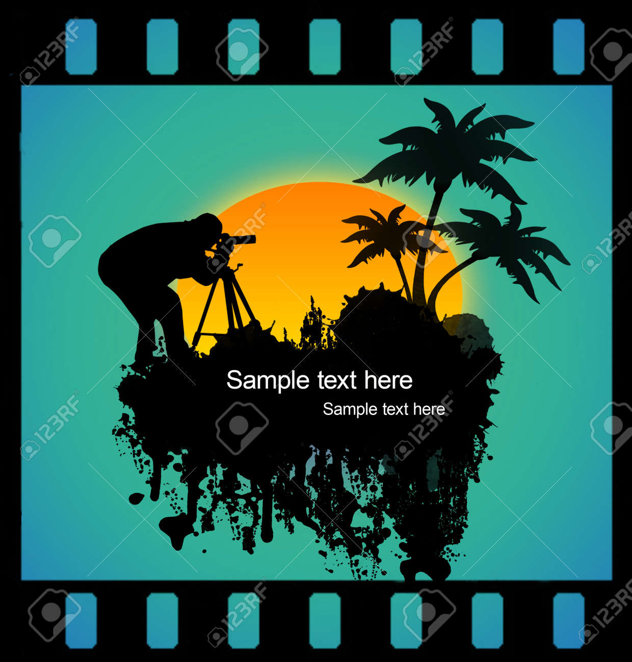 photographer shooting at tropical place on film strip Stock Vector - 13896992