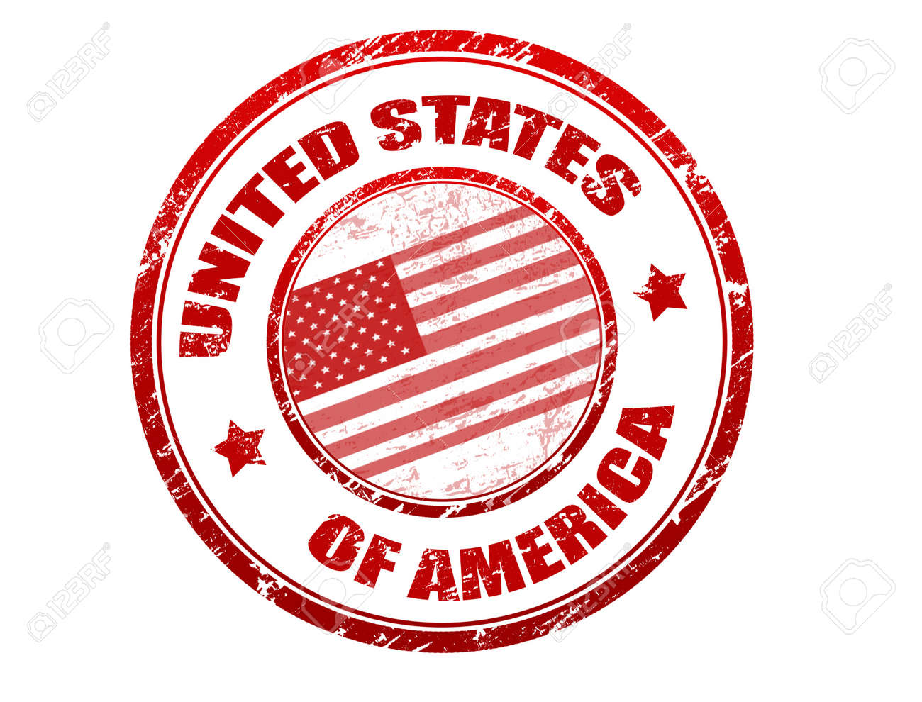 red grunge rubber stamp with u s flag and the name of united
