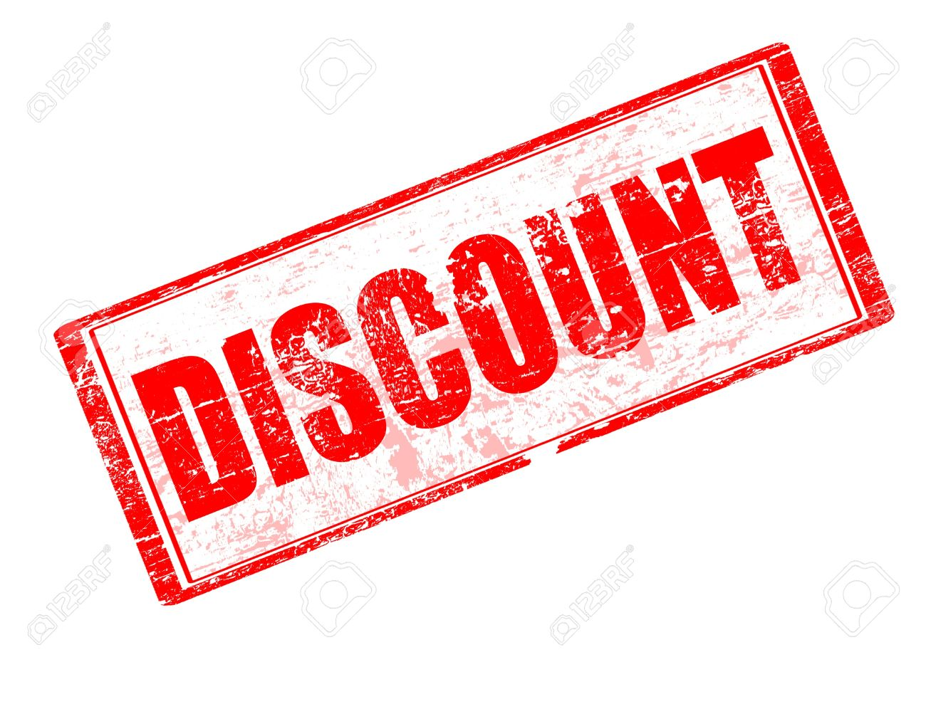abstract red rubber office stamp with the word discount written