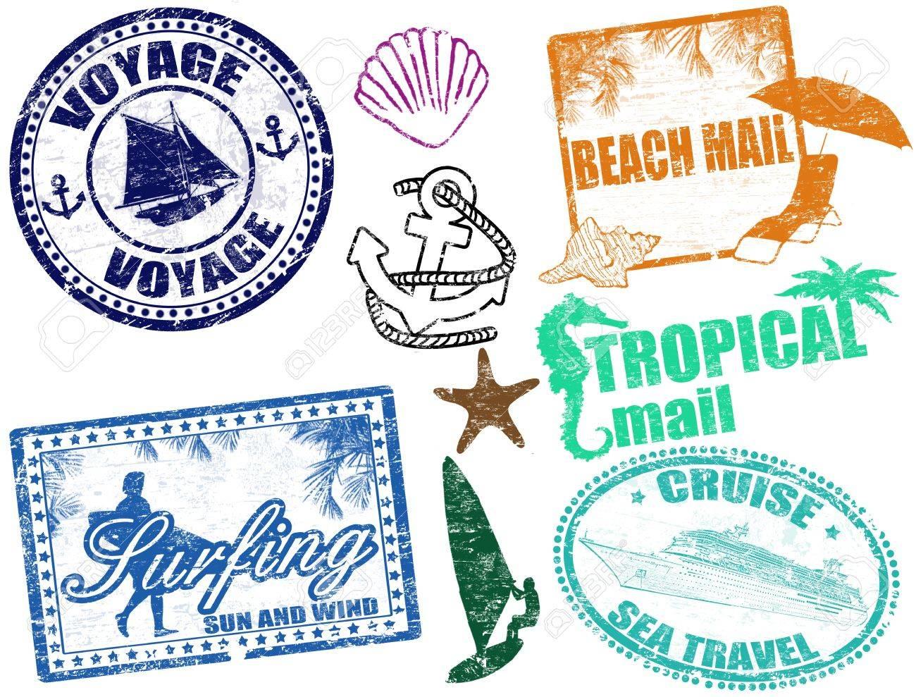 Set of grunge summer stamps Stock Vector - 14051281