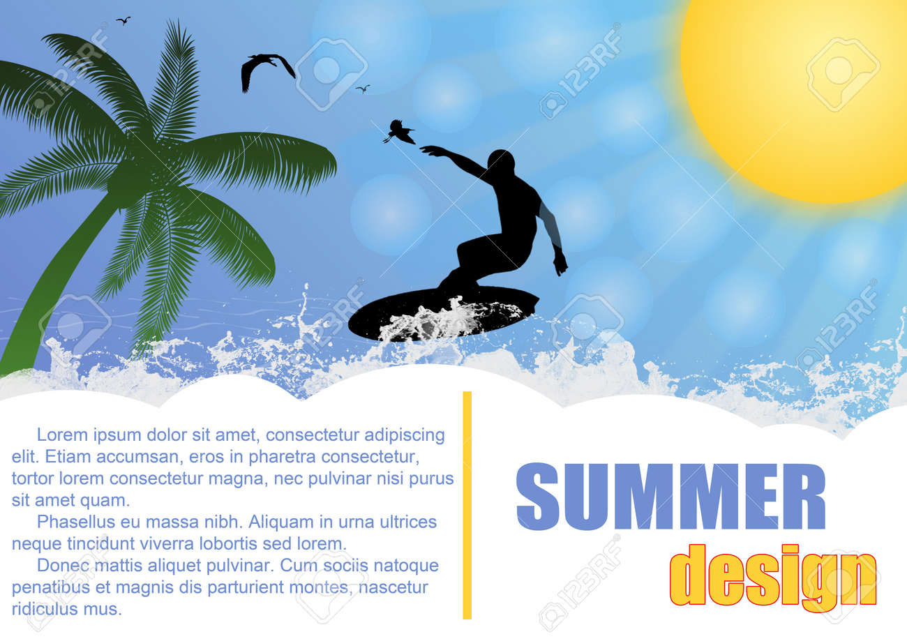 Summer holiday background design with surfer and sun , vector illustration Stock Vector - 14287958