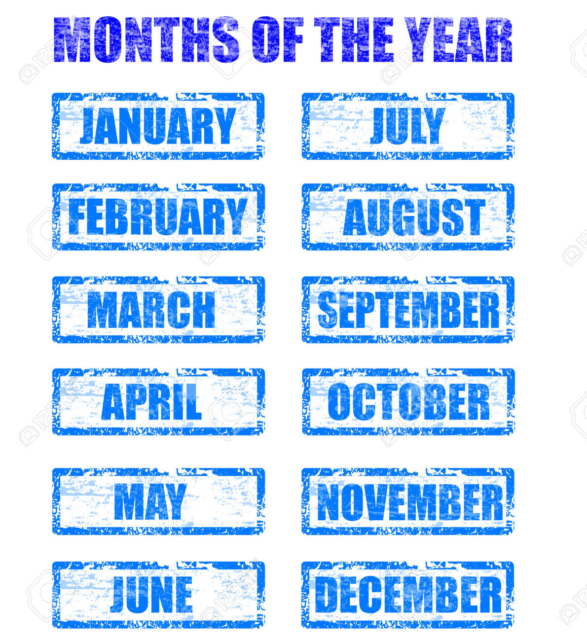 months of the year: months of the year rubber stamp