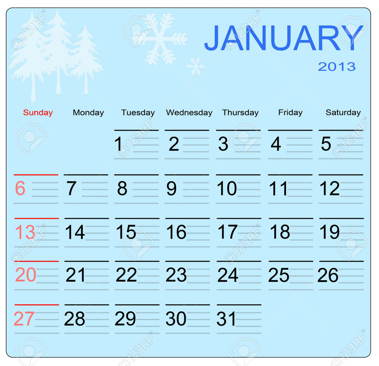January 2013 calendar, vector illustration Stock Vector - 15207663
