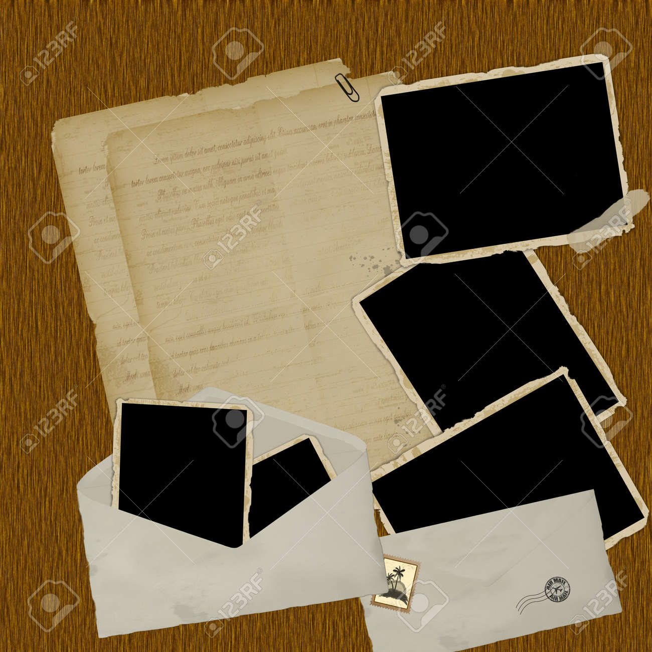 Vintage scrapbook composition with old style distressed postage design elements and antique photo frames on wood background Stock Vector - 15207661
