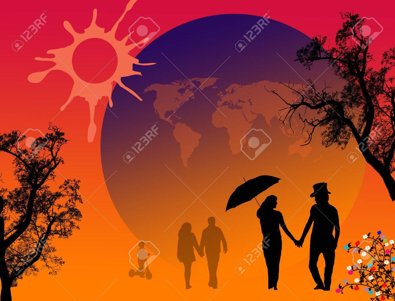 Lovers in a park with umbrella on beautiful place Stock Vector - 15635893