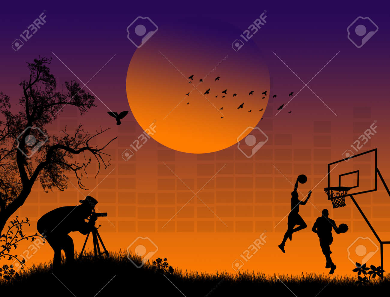 Silhouette of photographer at sunset shoot basketball players Stock Vector - 15635891