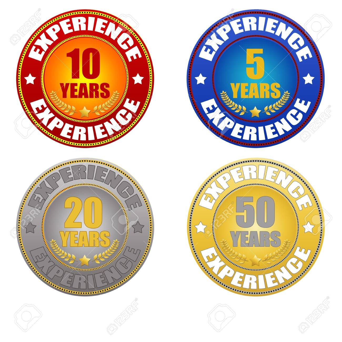 set of years experience sticker on white, vector illustration Stock Vector - 15745667