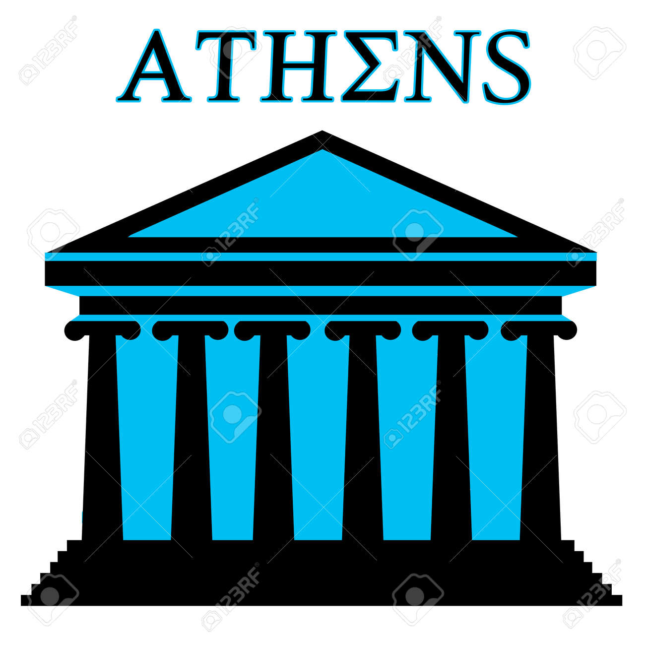 Athens symbol with Parthenon icon building on white background Stock Vector - 15924730