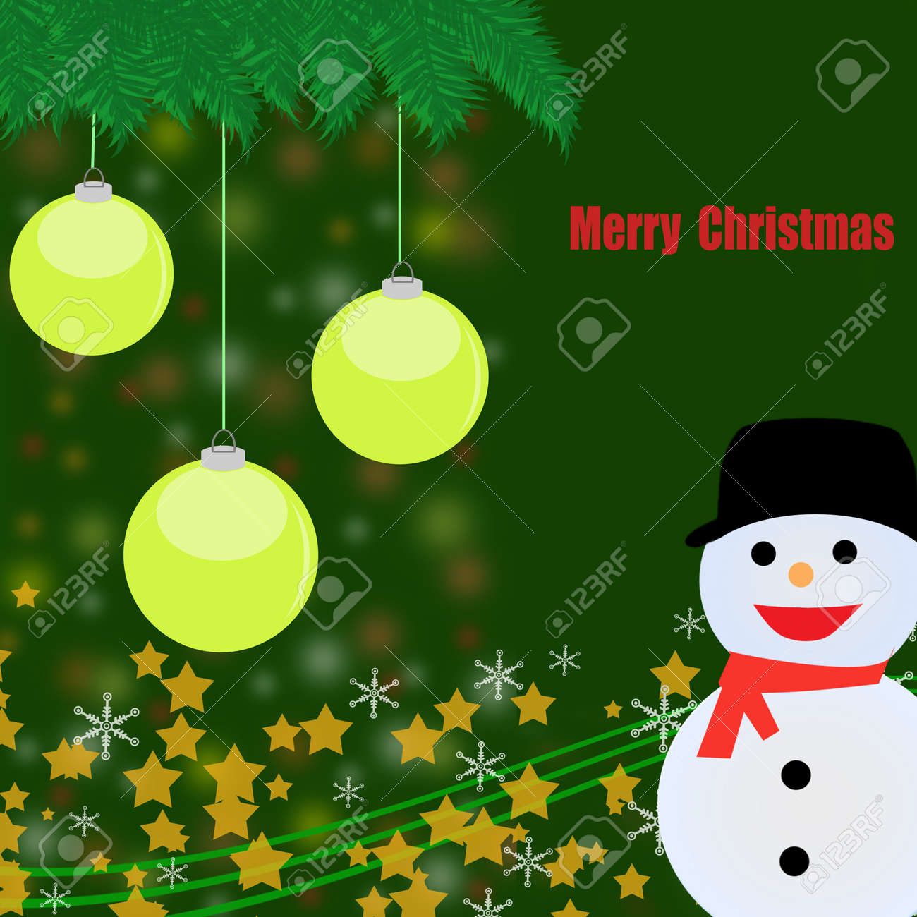 Christmas background with yellow balls,snowman and defocused lights Stock Vector - 16101648