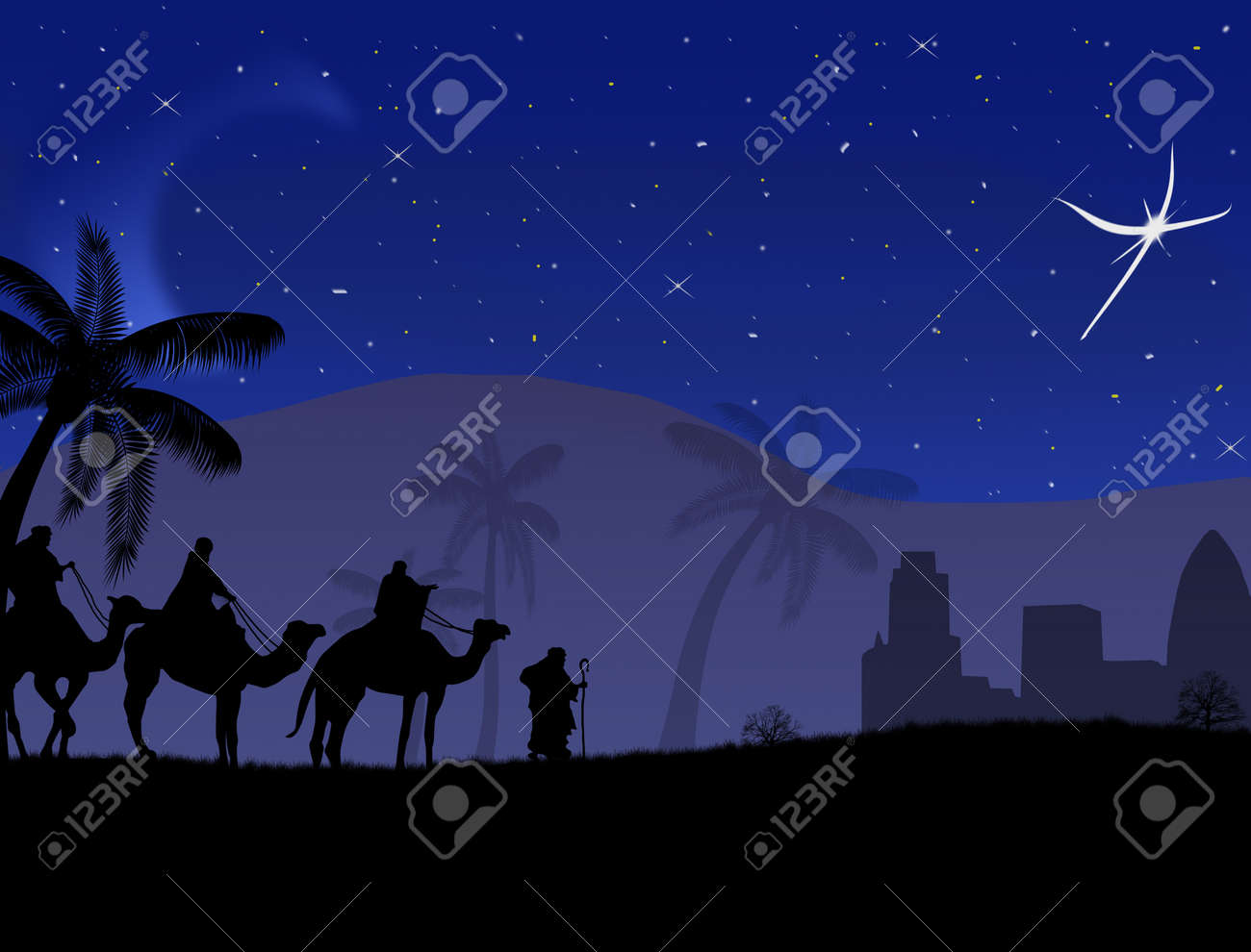 Classic three magic scene and shining star of Bethlehem Stock Vector - 16101666