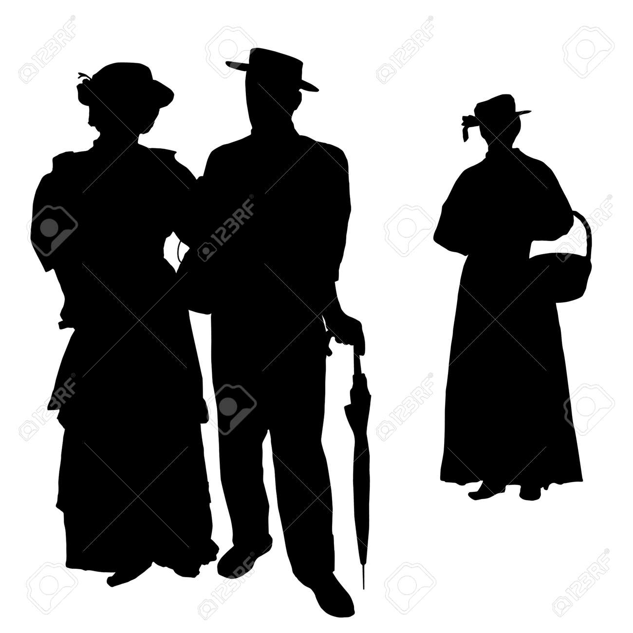 Vintage people silhouettes on white background, vector illustration Stock Vector - 16229744