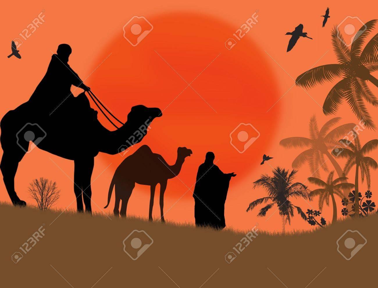 Bedouin camel caravan in wild africa landscape, vector illustration Stock Vector - 16229750
