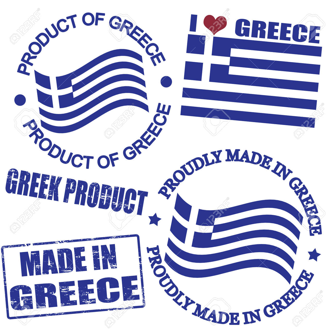 Set of stamps and labels with the text made in Greece written inside Stock Vector - 16383719