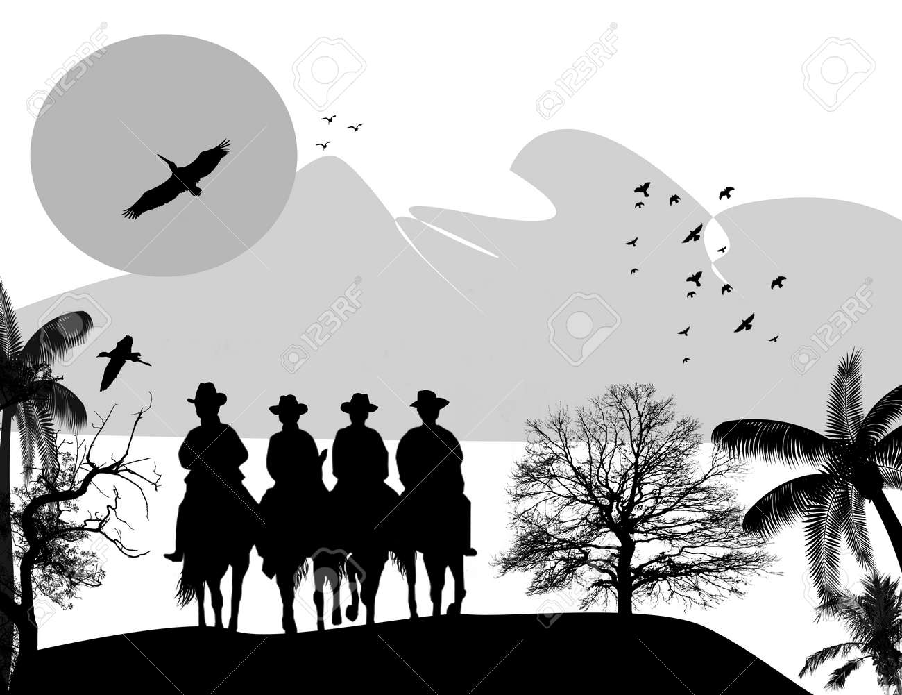 Western Horse Silhouettes Silhouette Cowboys With Horses