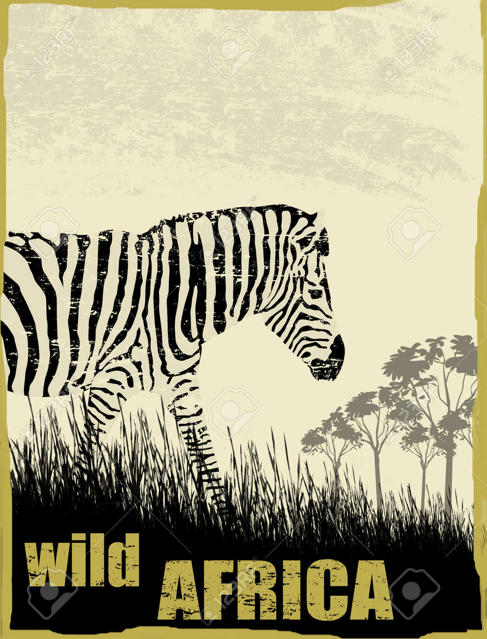 Wild africa image with zebra silhouette on grunge background, vector illustration Stock Vector - 17132177