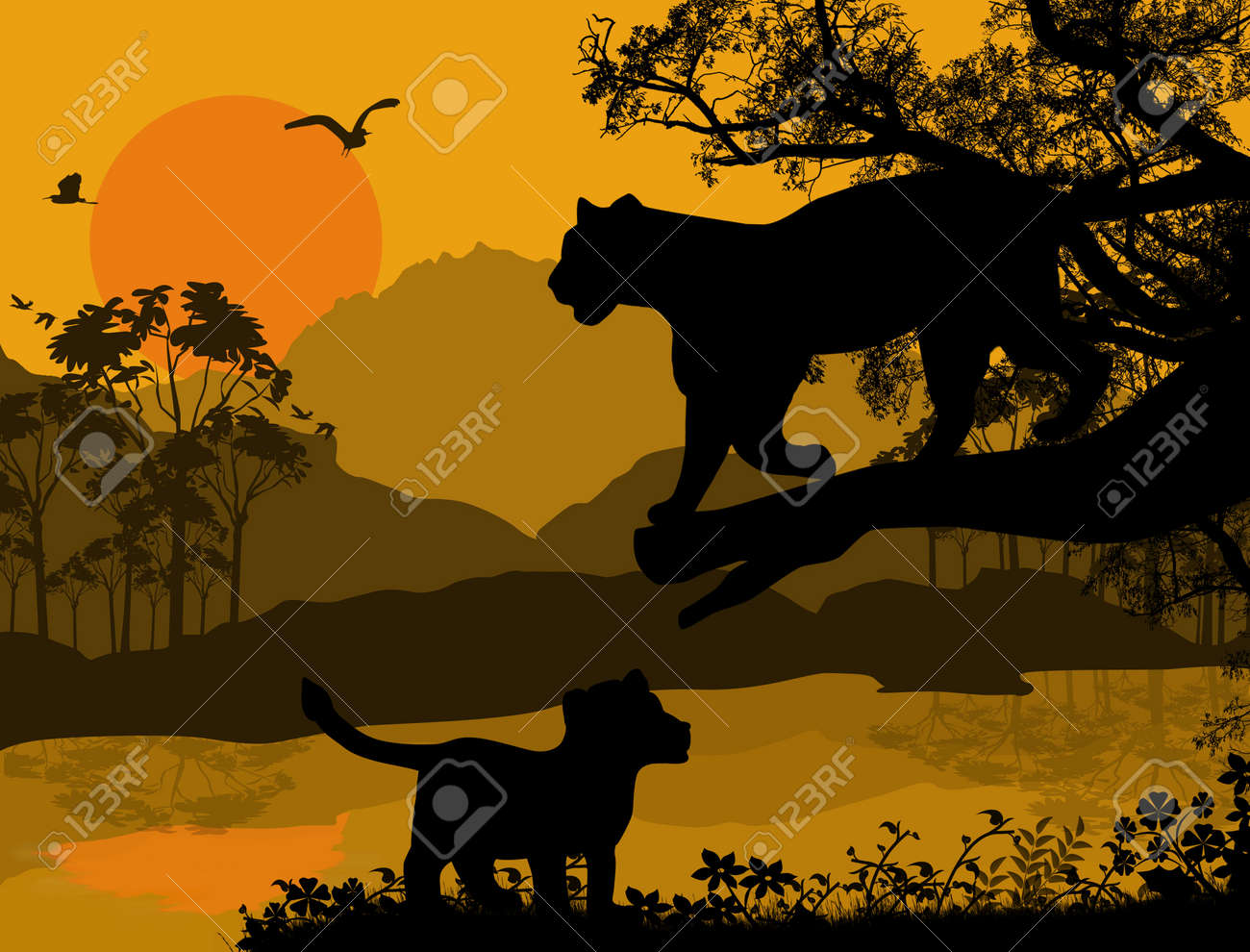 Silhouette view of panther on a tree at beautiful landscape, vector illustration Stock Vector - 17274759