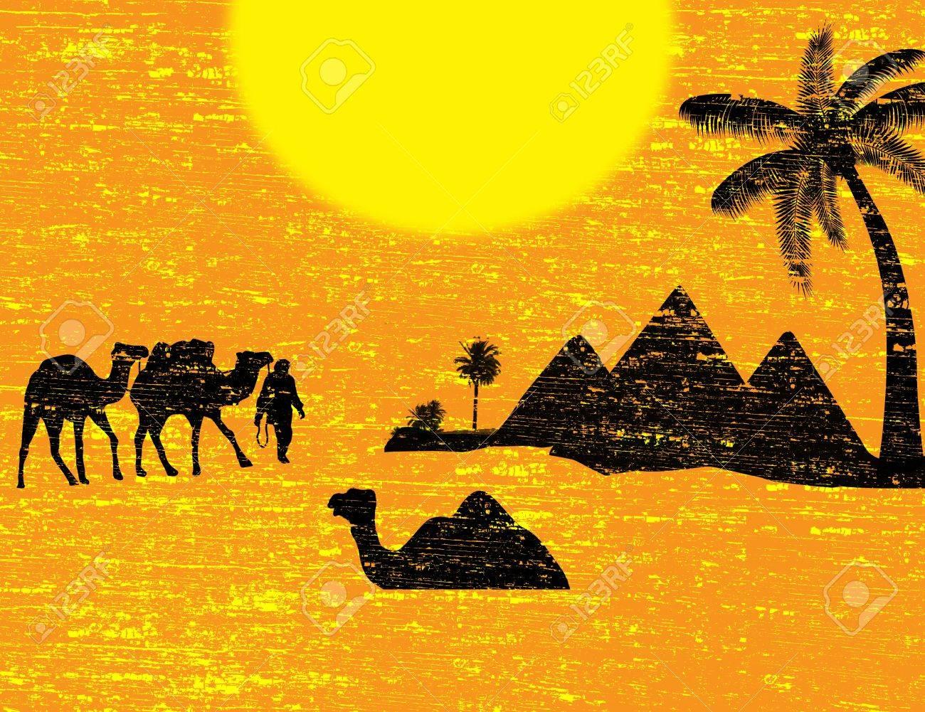 Bedouin camel caravan in wild africa landscape, vector illustration Stock Vector - 17274762