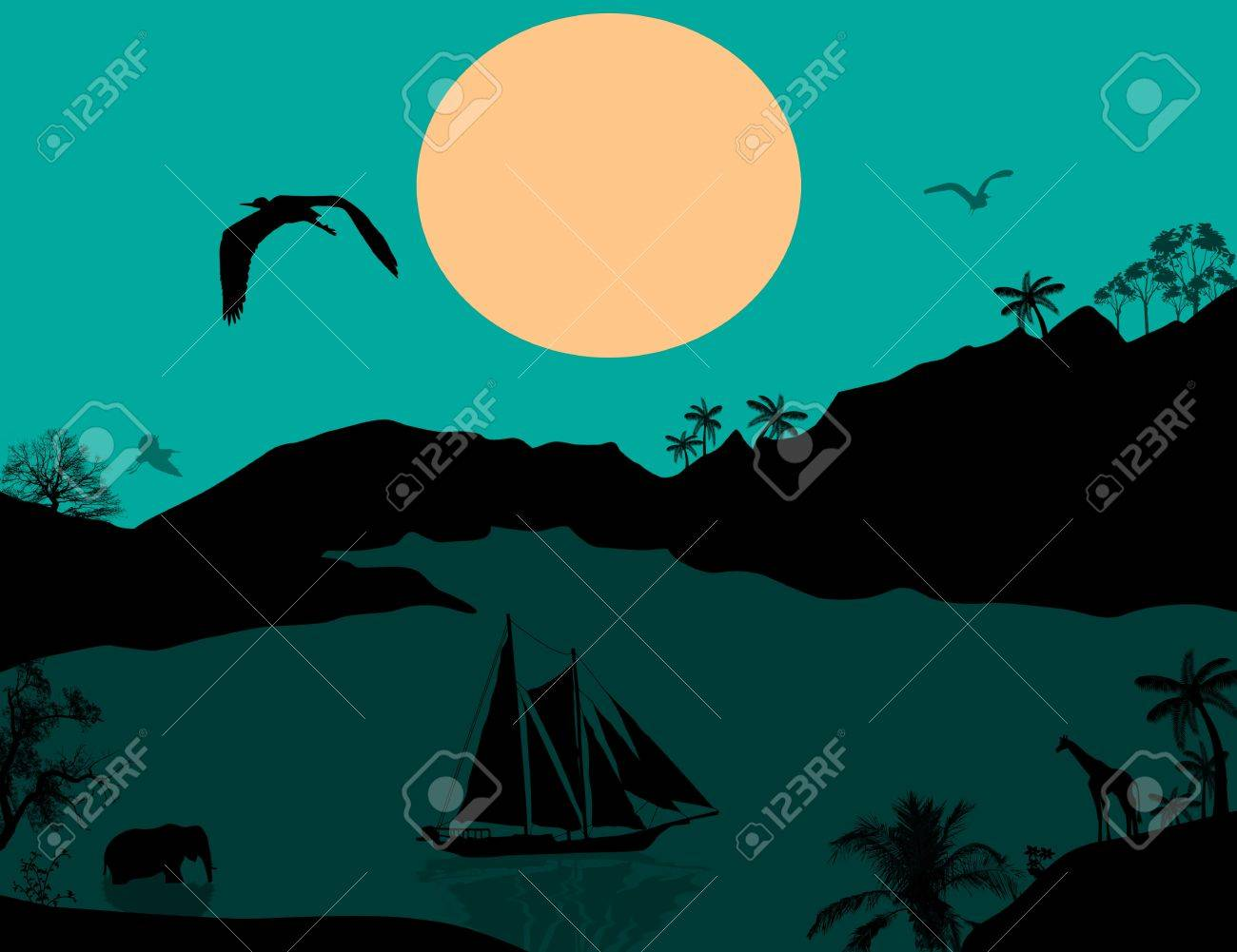 Vintage sailboat at sunset and wild animals, illustration Stock Vector - 17321978