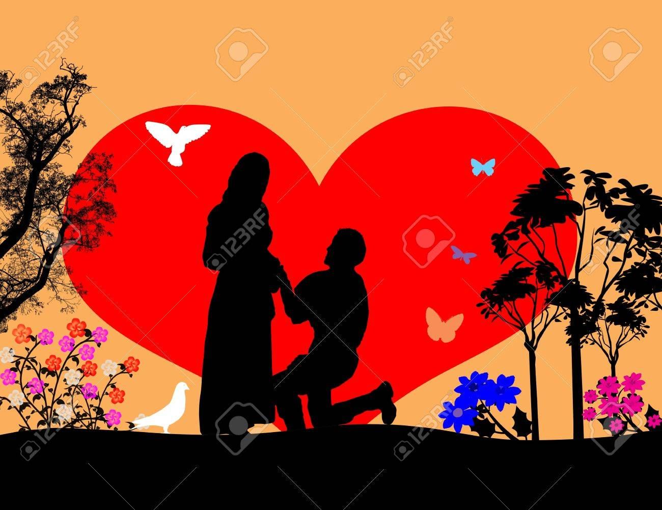 A young man  kneel and woo the girl in beautiful landscape silhouette, illustration Stock Vector - 17590580
