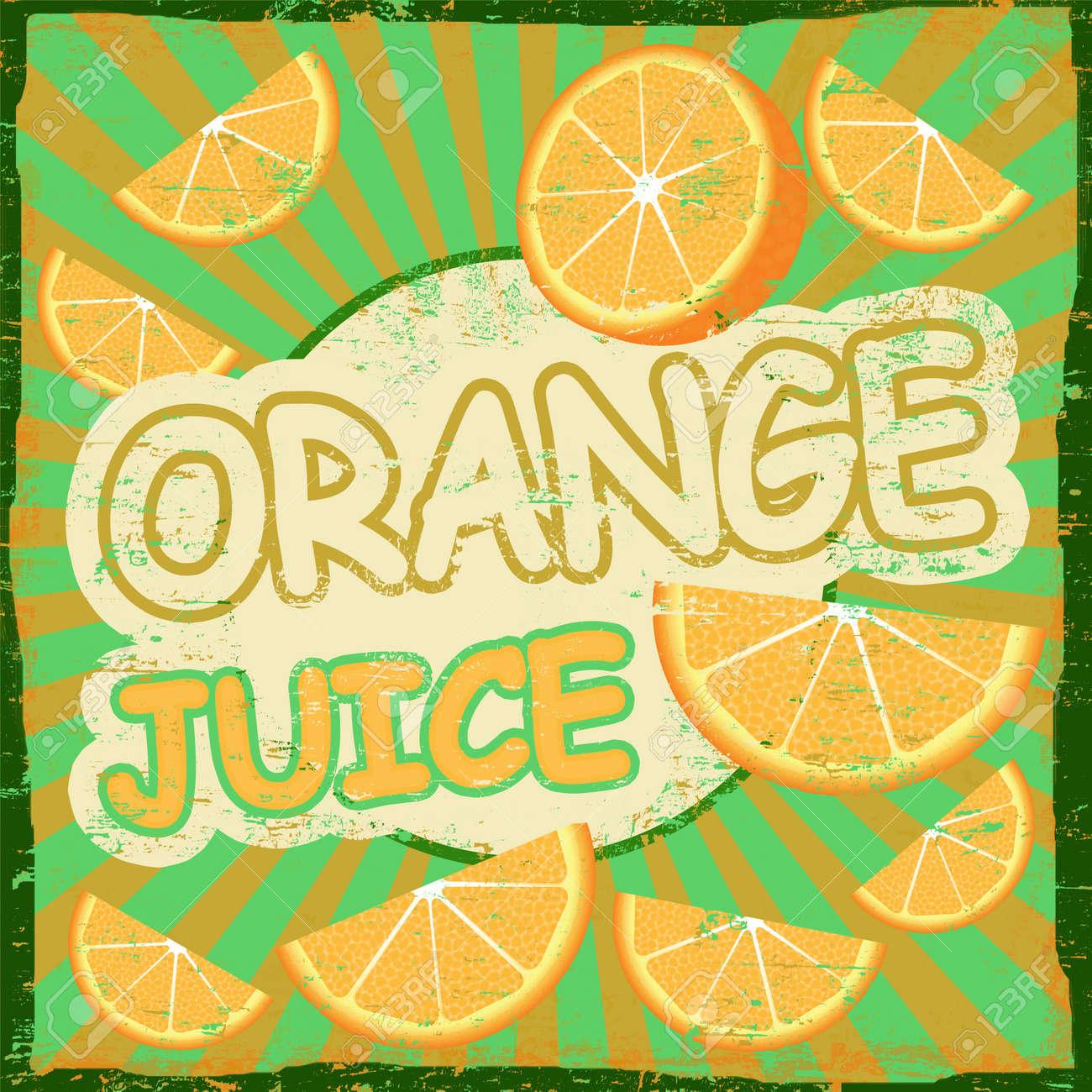 Vintage Orange Juice Retro Graphic Design Poster, Vector ...