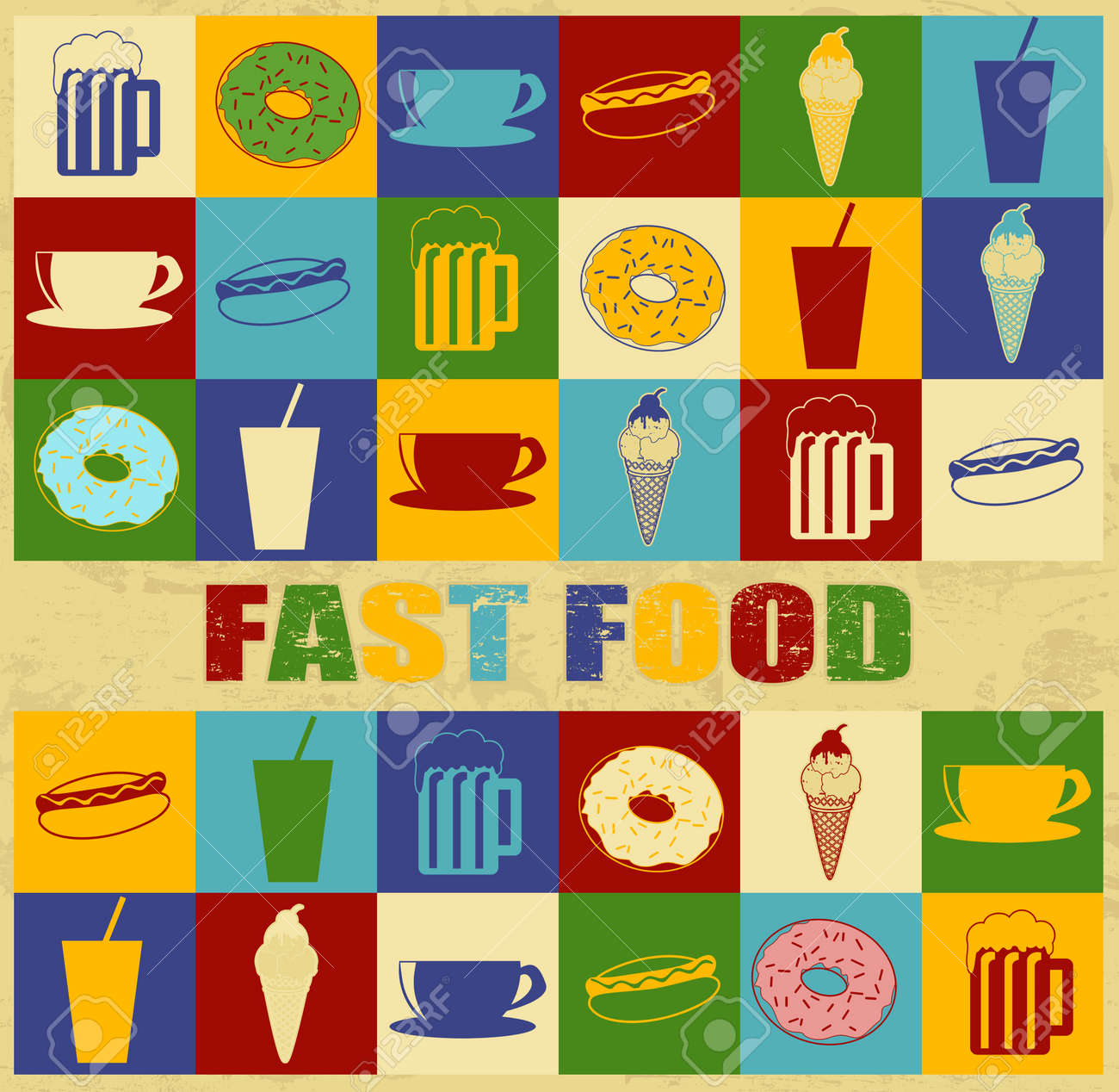 Fast food poster with food icons over vintage background, vector illustration Stock Vector - 18055964