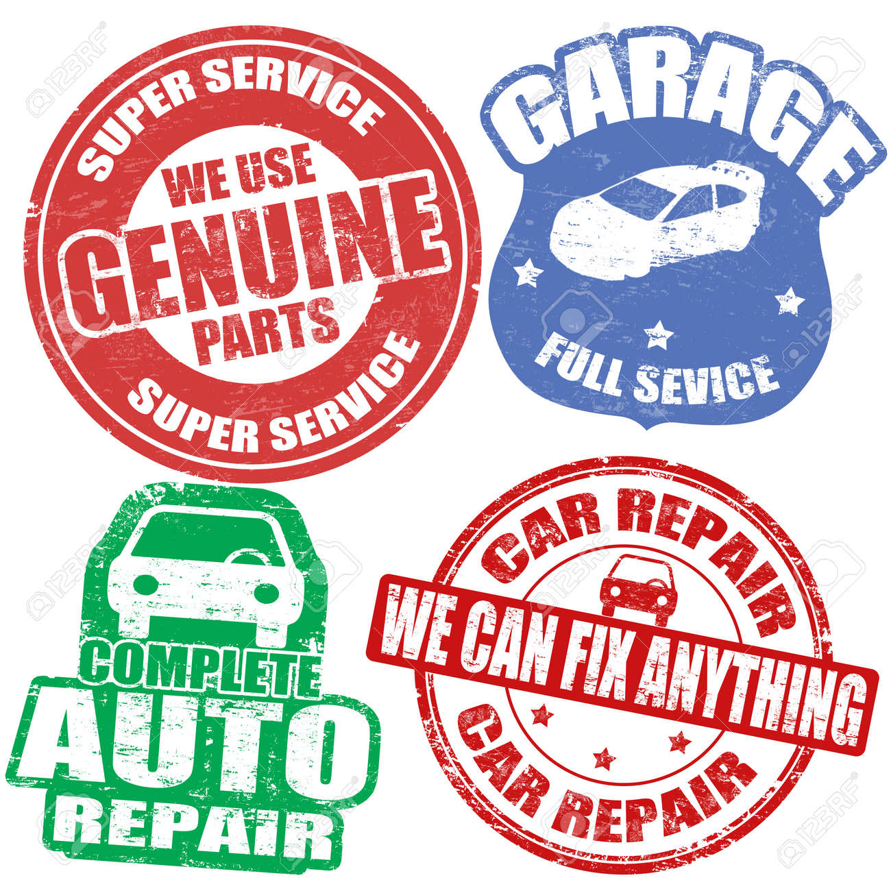 Set of car service grunge rubber stamps on white, illustration Stock Vector - 18119295