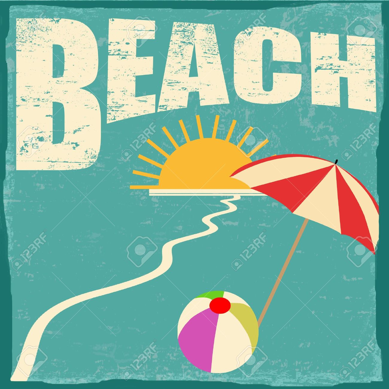 Beach Vintage Grunge Poster Vector Illustrator Stock