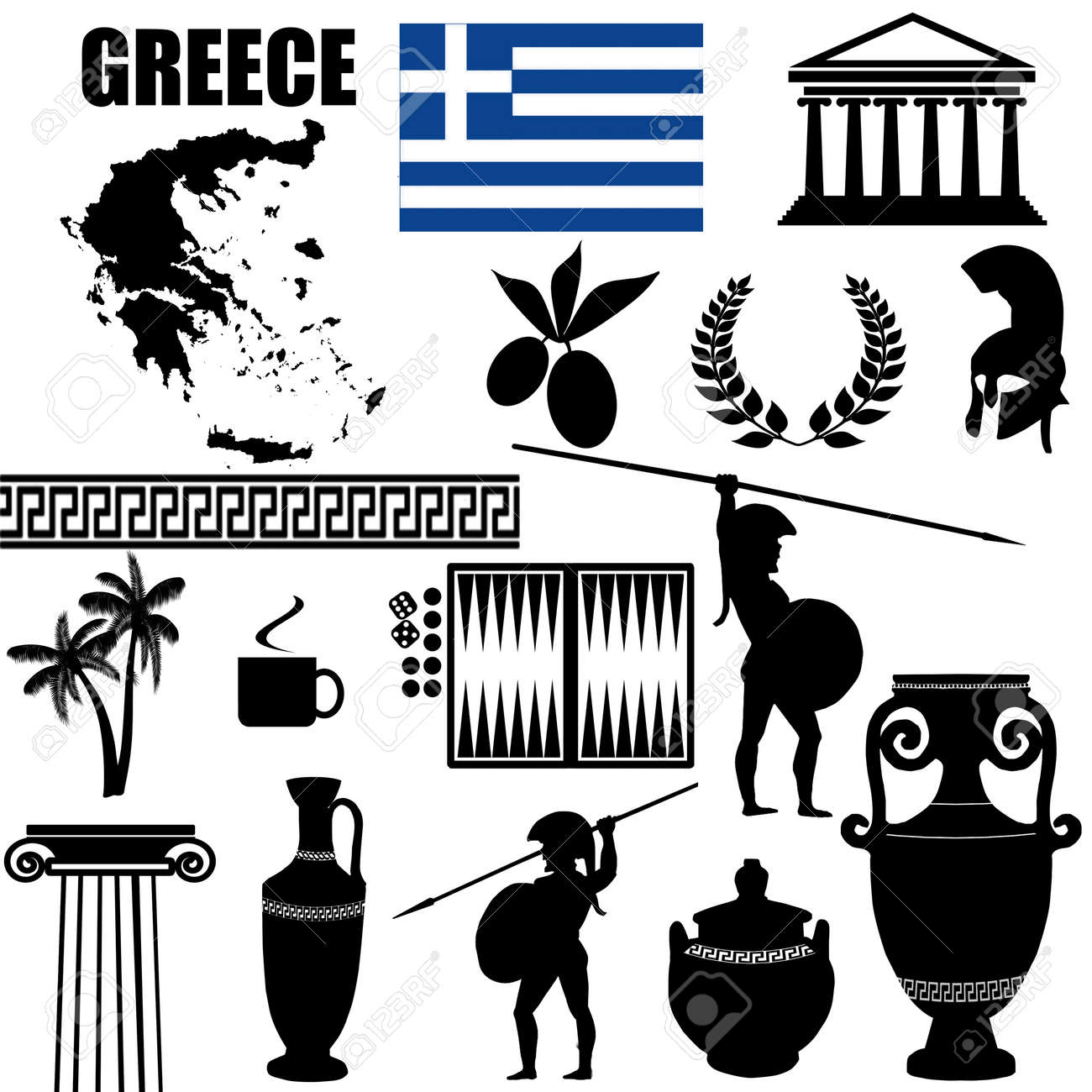 Traditional symbols of Greece on white background Stock Vector - 18931092