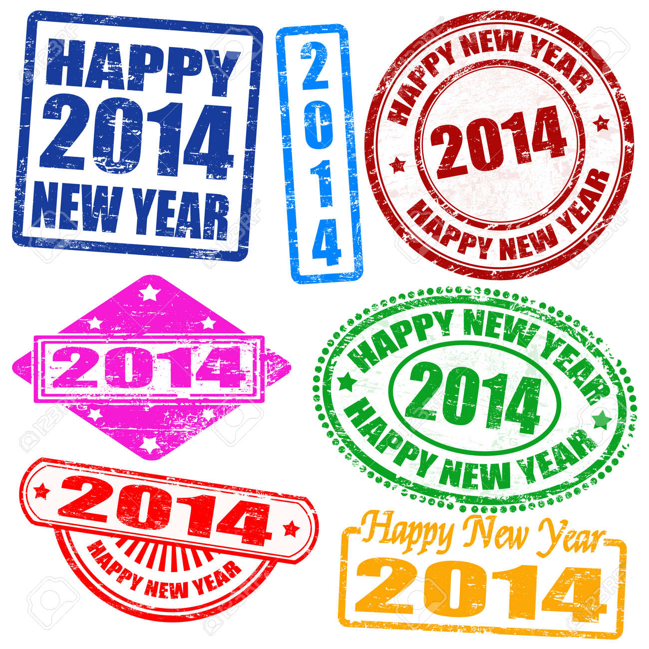 Set of 2014 new year grunge stamps, vector illustration Stock Vector - 19026249
