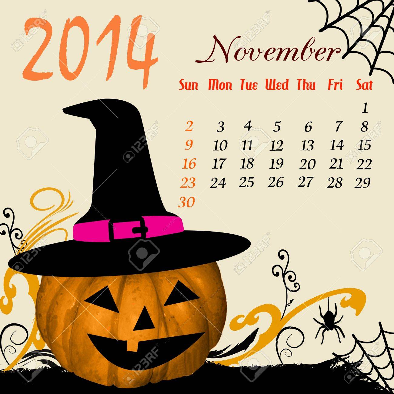 Calendar for 2014 November with Halloween elements Stock Vector - 19160966
