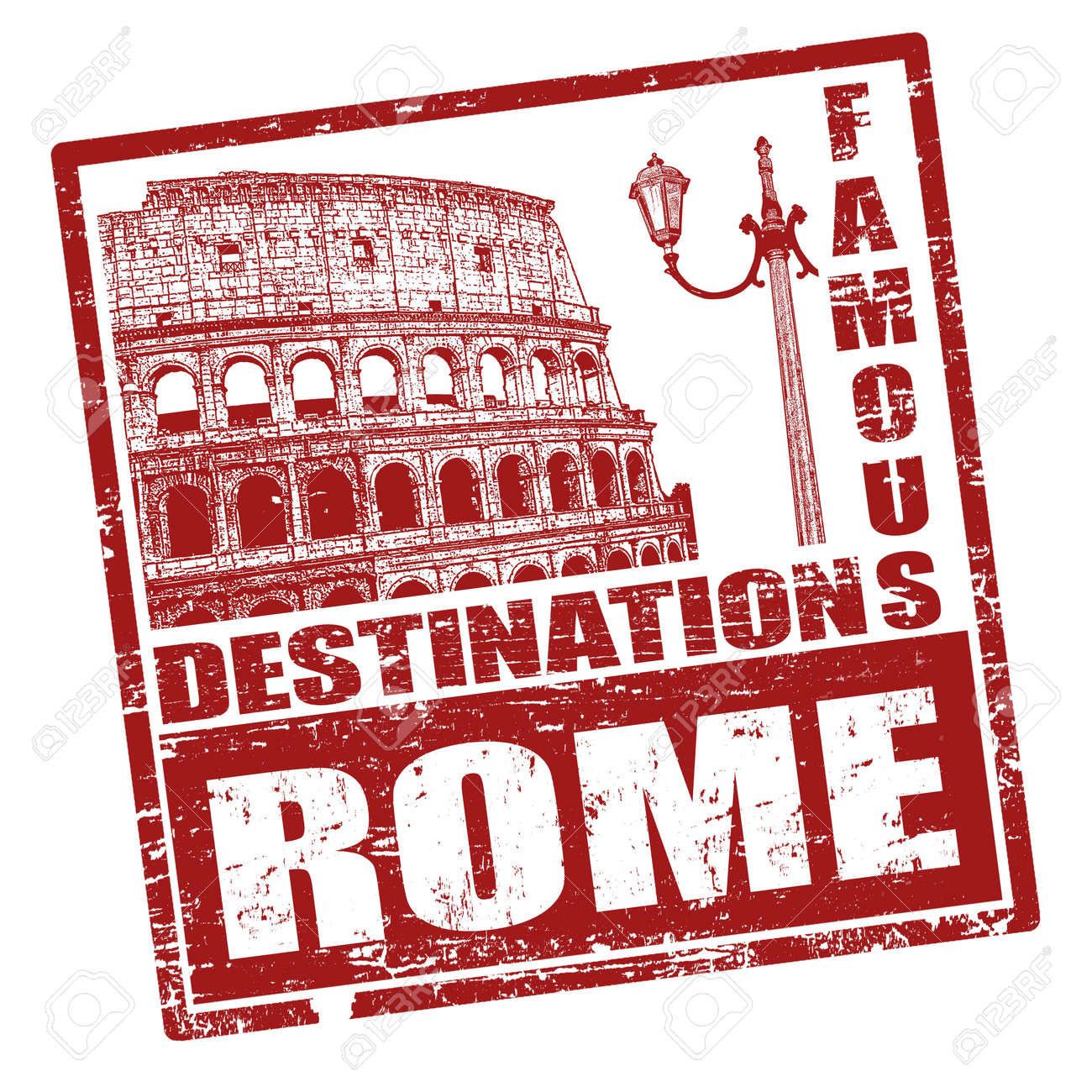 Grunge rubber stamp with Colosseum shape and the word Rome written inside Stock Vector - 20614006
