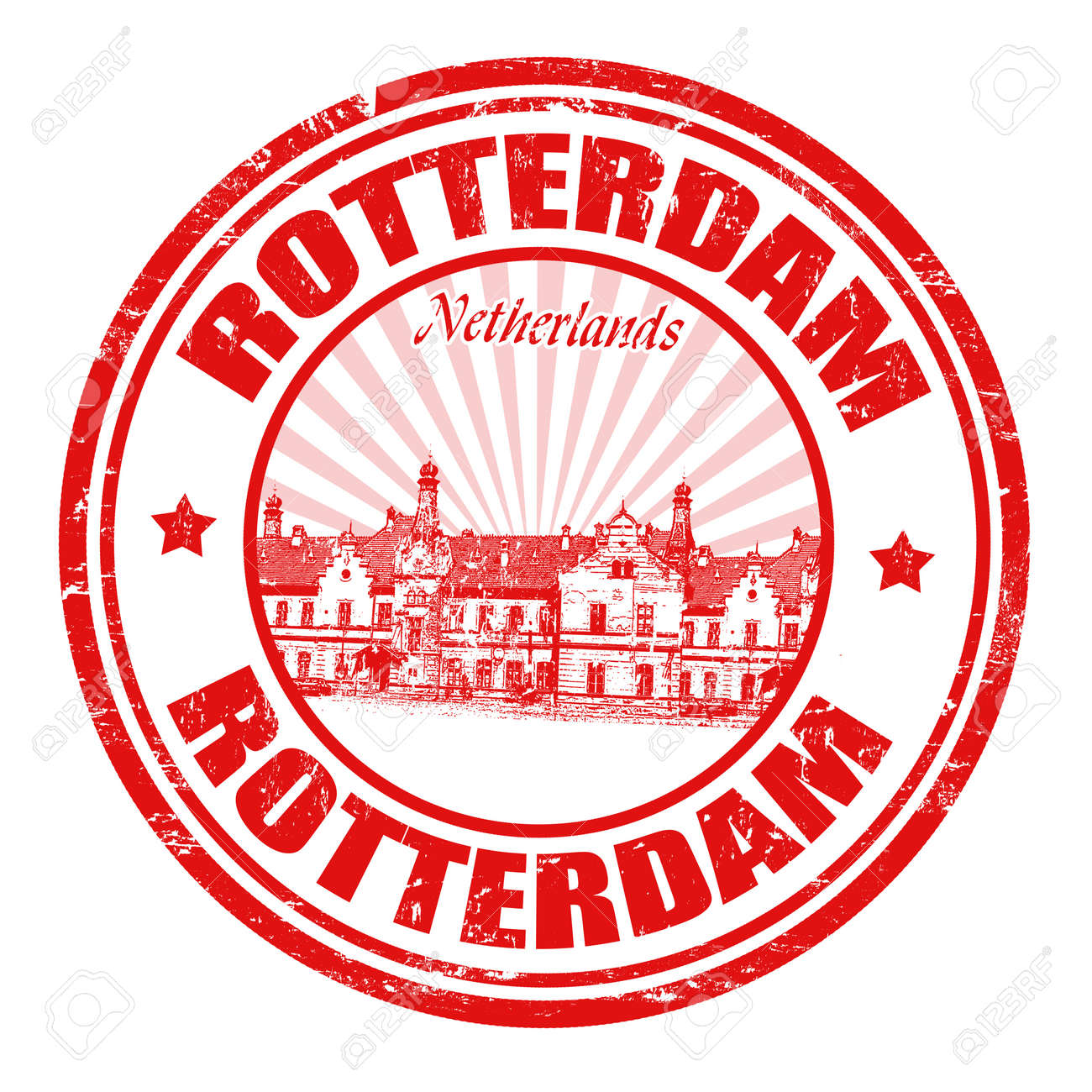 Red grunge rubber stamp with the name of Rotterdam city from Netherlands written inside the stamp Stock Vector - 20989323