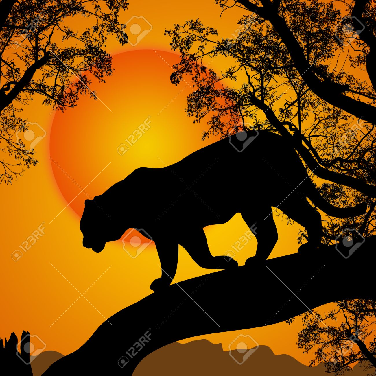 Silhouette view of tiger on a tree at beautiful sunset, vector illustration Stock Vector - 21068611