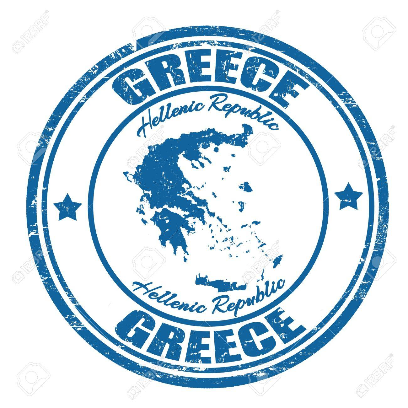 Grunge rubber stamp with the name and map of Greece, vector illustration Stock Vector - 21313881