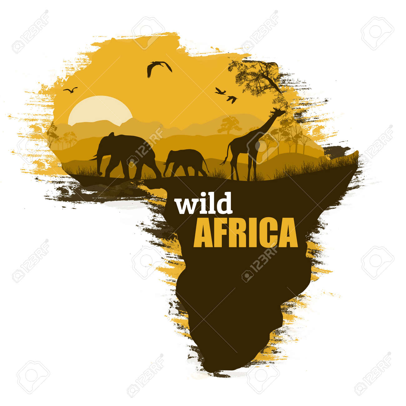 Wild African Animals Silhouettes On The Map Of Africa, With Space
