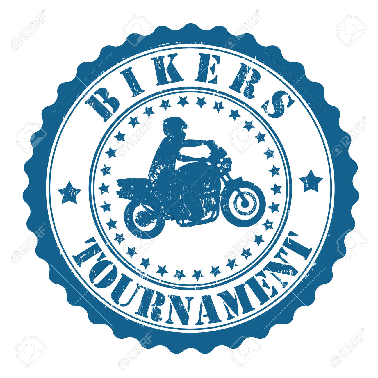 Bikers Tournament grunge rubber stamp on white Stock Vector - 21895524