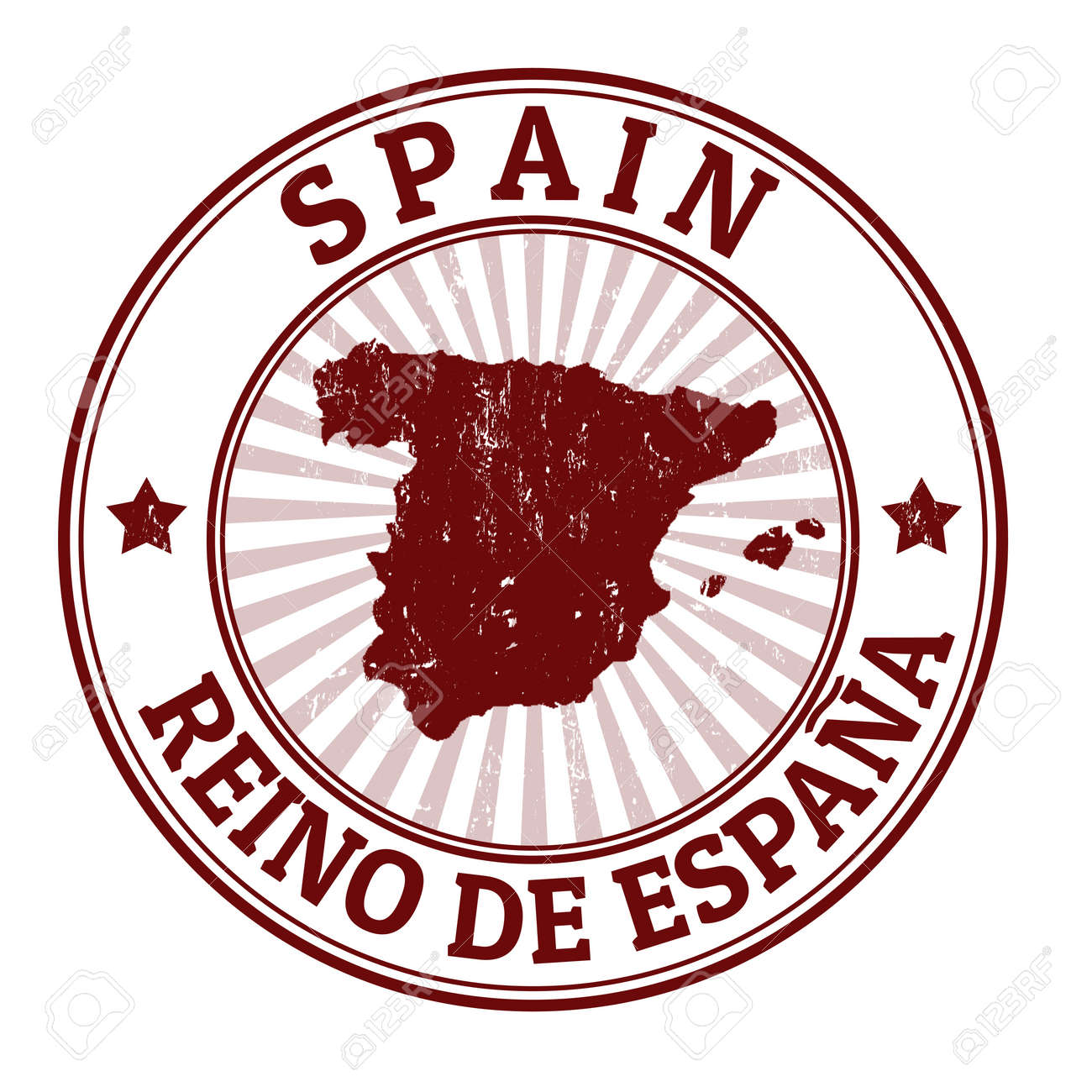 Grunge Rubber Stamp With The Name And Map Of Spain Stock Vector