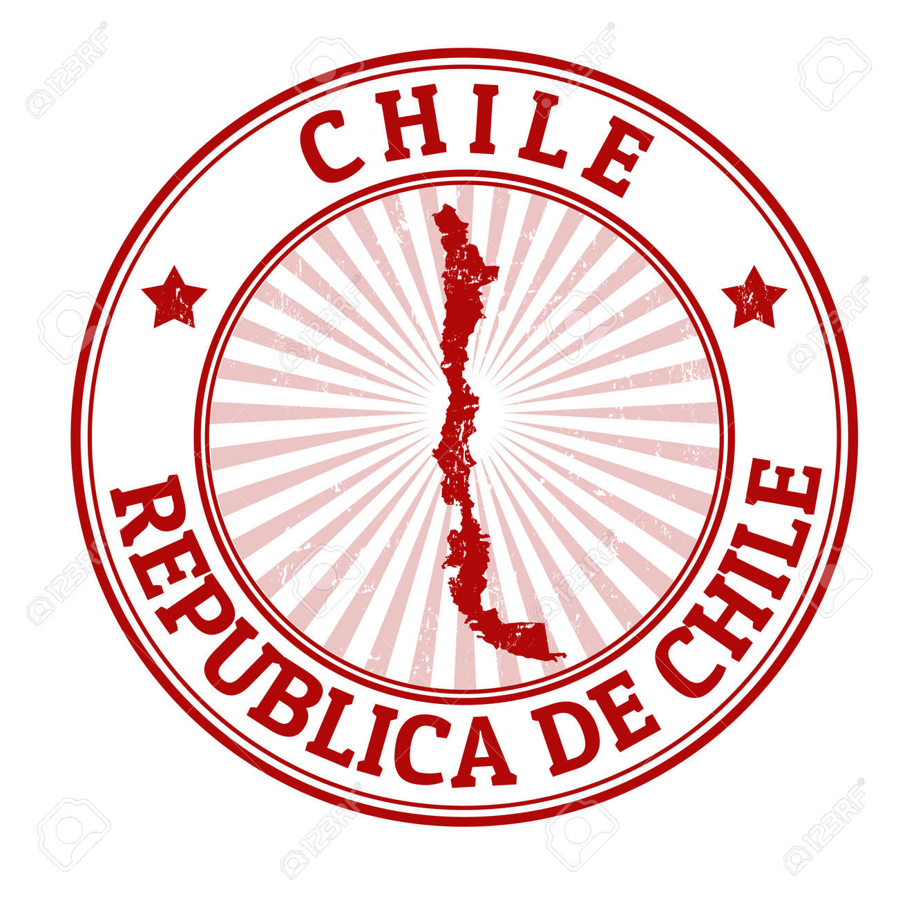 Grunge Rubber Stamp With The Name And Map Of Chile Vector Illustration Stock