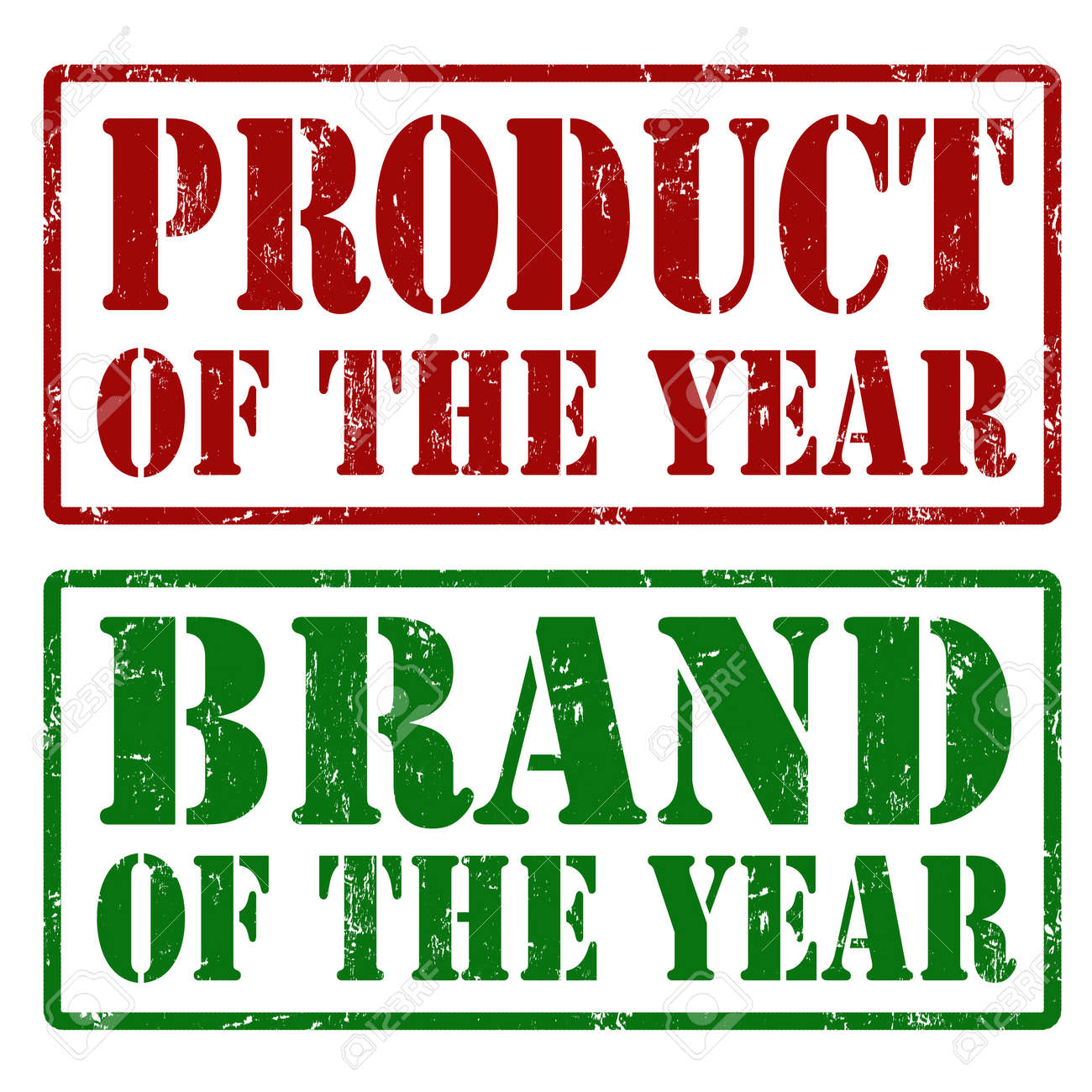 Product of the year and Brand of the year grunge rubber stamps, vector illustration Stock Vector - 22150529