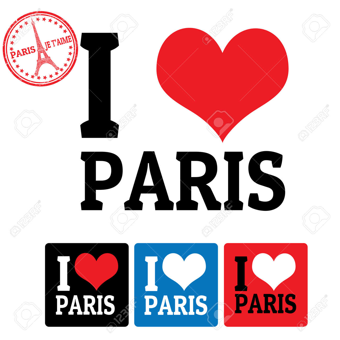 I love Paris sign and labels on white background, vector illustration Stock Vector - 22509742