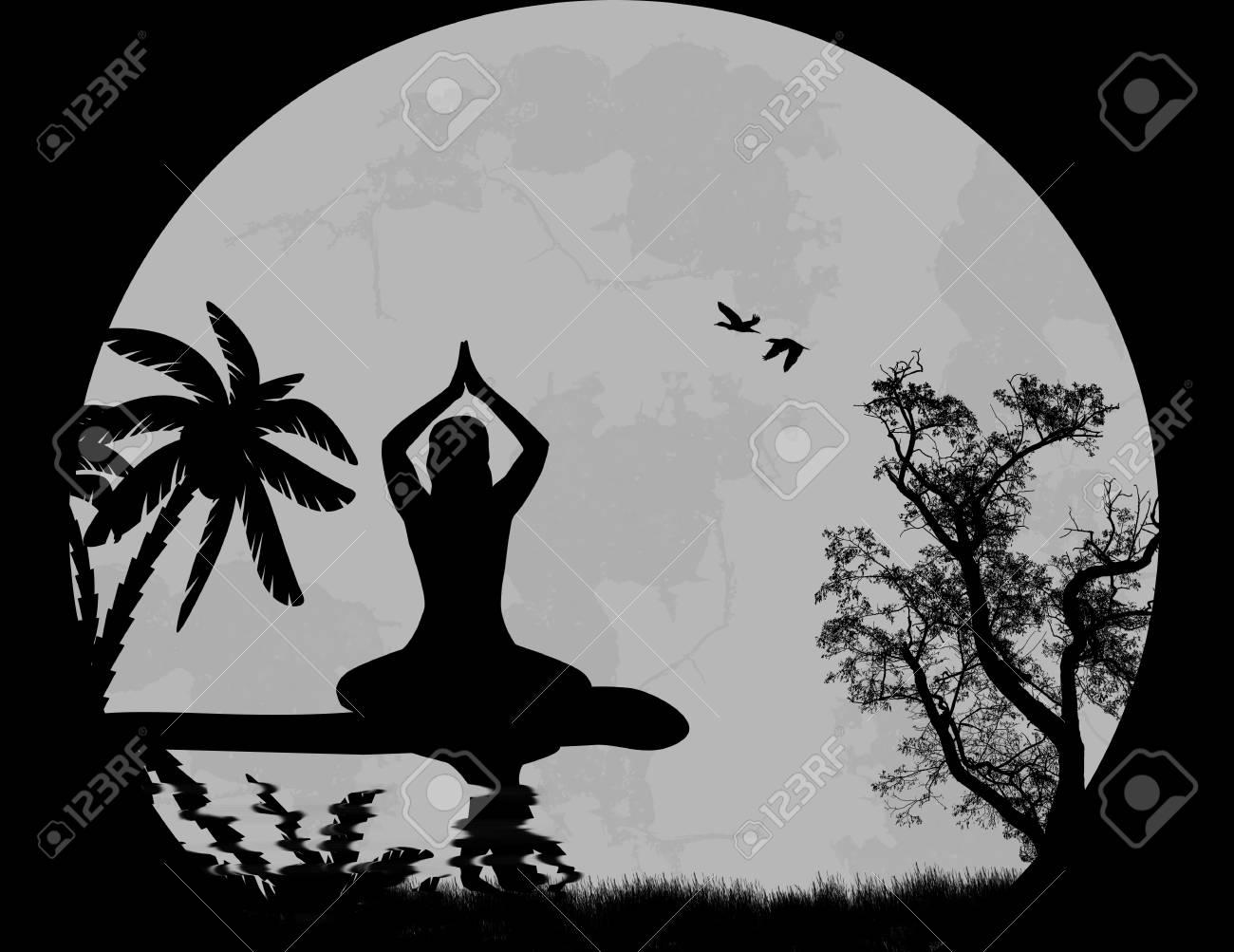 Vector Sunset Yoga background Stock Vector - 23124531
