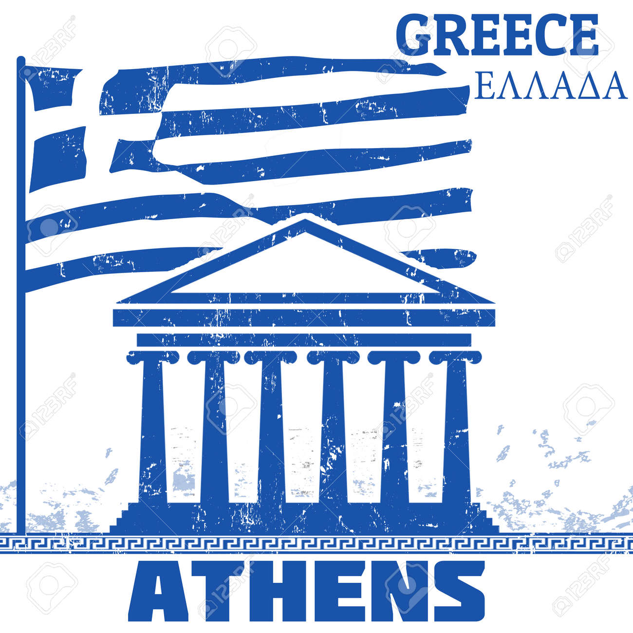 Outline athens skyline with blue buildings and copy space stock vector - Athens Skyline Grunge Poster With Name Of Athens Greece Vector Illustration