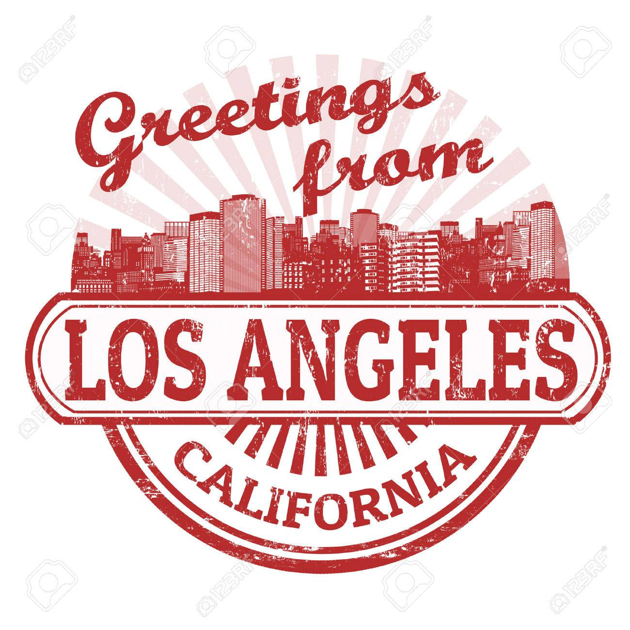 Grunge rubber stamp with text Greetings from Los Angeles, vector illustration Stock Vector - 23357907