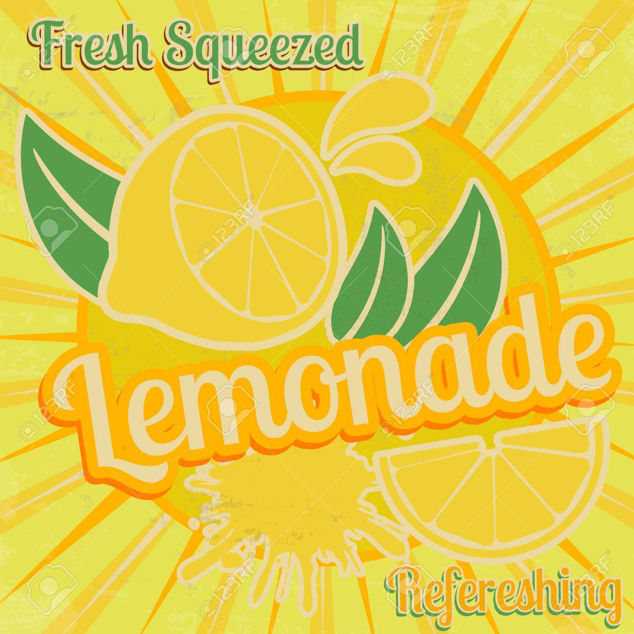 Lemonade Poster In Vintage Style, Vector Illustration Royalty Free ...